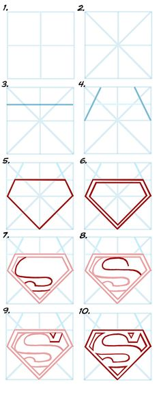 "DRAWING SUPERMAN'S ""S"" EMBLEM in 10 Steps."