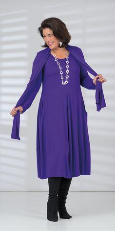 Q'neel purple jersey dress and scarf