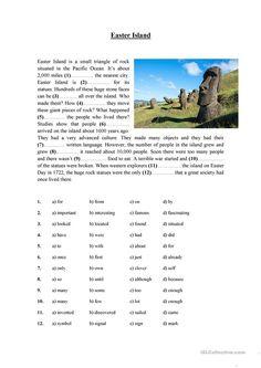 Easter Island worksheet - Free ESL printable worksheets made by teachers English Test, English File, English Class, Teaching English, English Language, Learn English, English Teachers, Reading Test, Reading Skills