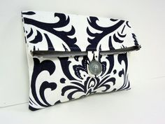 Navy Damask Bridesmaid Clutch Ready to Ship by BagsByLora