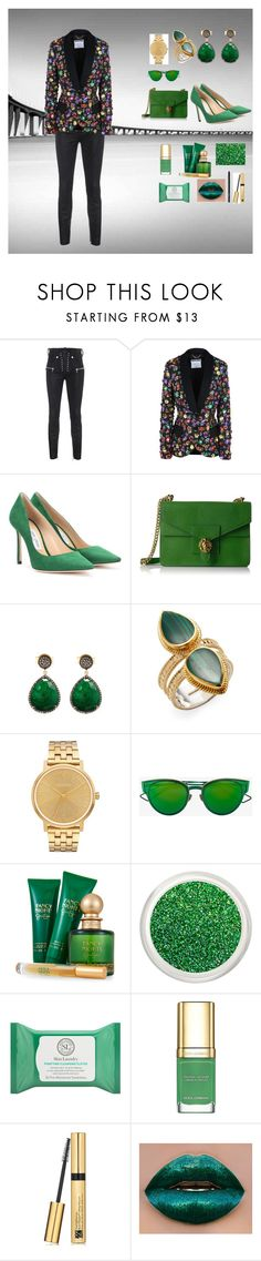 """Sem título #144"" by criscaruccio ❤ liked on Polyvore featuring Unravel, Moschino, Jimmy Choo, Anne Klein, Liv Oliver, Anna Beck, Nixon, Christian Dior, Jessica Simpson and Skin Laundry"