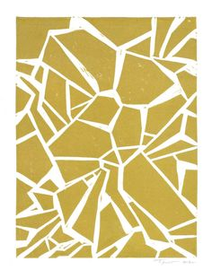 SALE Abstract Geometric Contemporary Linocut Art Print / 9 x 12 Home Decor / Gold, Silver