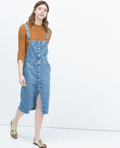 ZARA - NEW THIS WEEK - DENIM BIB-FRONT DUNGAREE DRESS