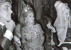 Marie-Hélène de Rothschild between Henri de Monpezat and his wife queen Margriet of Denmark at Alexis de Redé's Bal Oriental