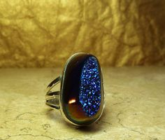 Druzy Ring Titanium Coated Sterling Silver