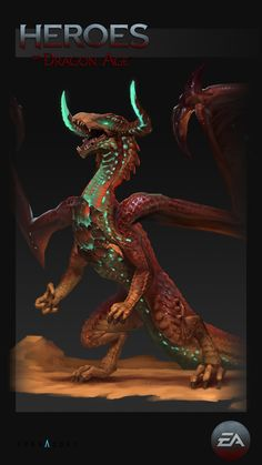 Concepts done for Heroes of Dragon Age mobile game. Heroes Of Dragon Age, Dragon Age Rpg, Fantasy Dragon, Dragon Art, Alien Concept Art, Creature Concept Art, Creature Design, Fantasy Creatures, Mythical Creatures