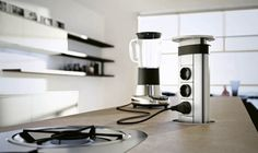 Moderne Küche Domus steckdosen küchengeräte kochinsel integriert
