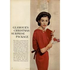 Glamour Editorial Glamour's Christmas Surprise Package, December 1956... ❤ liked on Polyvore featuring vintage, backgrounds, models, people, christmas, editorials and filler