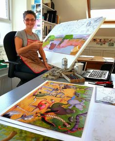 Illustrator Lynne Chapman - In my studio in Sheffield. Working on the pastel illustration for my latest book Jungle Grumble.