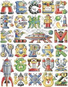 """Alphabots"" counted cross-stitch pattern by Sandy Orton (designer) and Kooler Design Studio ( Cross Stitch Letters, Cross Stitch Baby, Cross Stitch Charts, Cross Stitch Designs, Cross Stitching, Cross Stitch Embroidery, Embroidery Patterns, Stitch Patterns, Hardanger Embroidery"