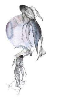 Piet Boon Styling by Karin Meyn   Hand drawn fish in our chosen mood color dark blue