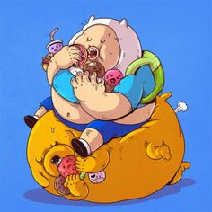 Finn & Jake | Morbidly obese versions of iconic pop culture characters by Alex Solis