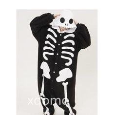 Adult Onesie Pajamas Kigurumi Human Skeleton Pajamas Sleepwear Cosplay Costume for Women Girl Men Boys Flannel Pajamas Unisex Onesie Pyjamas...