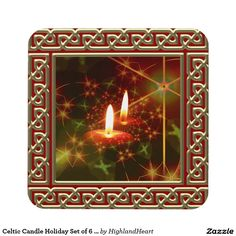 Celtic Candle Holiday Set of 6 Coasters