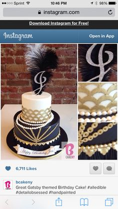Too bad you dont have cakes at J&Js bc this is beautiful! Themed Birthday Cakes, Adult Birthday Party, 30th Birthday Parties, Themed Cakes, Great Gatsby Cake, Great Gatsby Themed Party, 1920s Cake, 40th Bday Ideas, Birthday Ideas
