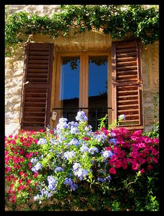 Shuttered Windows Bedecked with Flowers