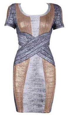 Nikki Gold and Silver Bandage Dress - So Sexy Fashion