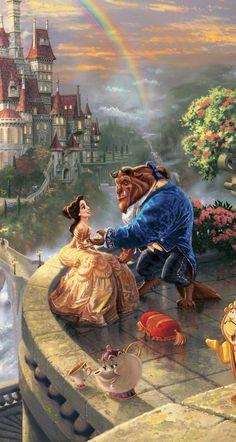 Beauty and the beast. Thomas Kinkade Beauty and the beast. Disney Magic, Disney Pixar, Disney Amor, Disney E Dreamworks, Disney Movies, Thomas Kinkade Disney, Images Disney, Disney Pictures, Pinturas Disney