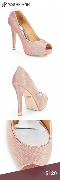 """NIB Badgley Mischka Shimmer Mesh Pump Details:  Self-covered heel, 4½"""" (115mm) Hidden platform, 1"""" (25mm) Compares to a 3½"""" heel (90mm) Shimmery textile upper Peep toe Leather lining and sole Padded insole Imported   Color: Grey/Plum Badgley Mischka Shoes Heels"""