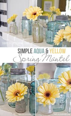 Simply Klassic Home: Simple Aqua & Yellow Spring Mantel