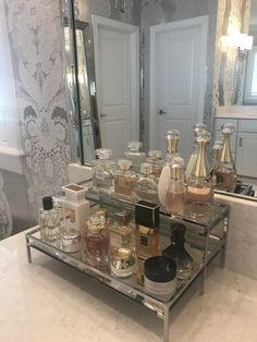Perfume Storage Ideas and Inspiration For Karen Gilbert Perfume Storage, Perfume Organization, Perfume Display, Perfume Tray, Makeup Organization, Chic Perfume, Hair Product Organization, Perfume Bottles, Bandeja Perfume