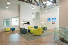 Relaxation area with color furniture at Coastal Club in Myrtle Beach, interior design by e3 studios