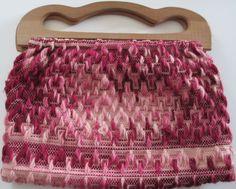 Vintage Knitting Tote- Handmade- Wooden Handles - Market Bag or Purse- Swedish weaving.