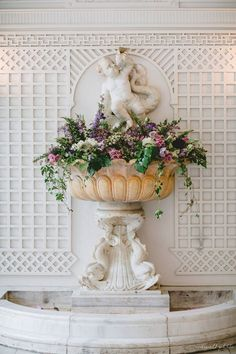 Artquest, Ltd fountain decor at The Armour House in Lake Forest, IL.       Check us out on Facebook and Instagram at artquestltd for more! And be sure to check out Tasha Redwall Photography for more gorgeous photos! Wedding Flower Arrangements, Floral Arrangements, Wedding Flowers, Forest Academy, Lake Forest, Reception Decorations, Fountain, Armour, Floral Design