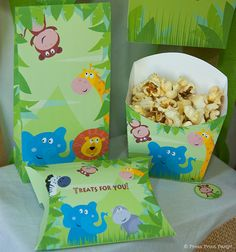 Jungle safari treat boxes -  Jungle Safari Printables for Birthday or Baby Shower by Press Print Party! #jungle #party