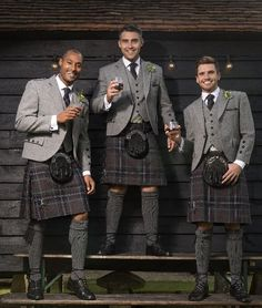 Grey Spirit Kilt with grey tweed argyll jacket for hire. Call 0117 9737461 for prices or book your appointment online at www.menshire.co.uk. 5th outfit free