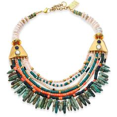 Lizzie Fortunato Tortola Semi-Precious Multi-Stone Beaded Long Bay... (€685) ❤ liked on Polyvore featuring jewelry, necklaces, apparel & accessories, long fringe necklace, 18 karat gold necklace, beaded bib necklace, bead necklace and fringe bib necklace
