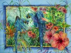 'Jungle Blues' | Parrot painting on silk by Deborah Younglao | from Featured Artist article on Artsy Shark blog.
