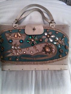 Enid Collins Pampered Puss handbag; canvas rectangular; blue and jewels