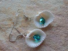 White Sea Shell Dangle Earrings Gift Idea by UniqueChiqueJewelry