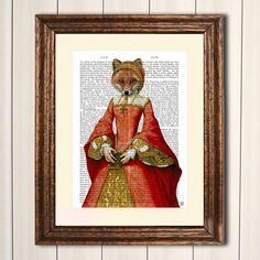 14x11 inch Reproduction Dictionary Print Fox Queen  by FabFunky, $30.00