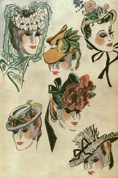 1939 1930s Hats, 1950s, Glamour, Classic, Painting, Fictional Characters, Vintage, Art, Sombreros