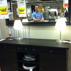 Buffet and Mirror from Ikea - my dining room must have this (plus hot guy in mirror ;) )