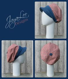 Patriotic Hat Slouchy Visor Beanie Newsboy by GreenTrunkDesigns