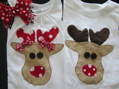 Brother/Sister Christmas Reindeer Clothing/ Twins by BowtiqueMama, $65.00