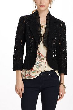 lace blazer by tabitha Lace Blazer, Lace Jacket, Jacket Style, Anthropologie Clothing, Casual Outfits, Fashion Outfits, Fashion Styles, Straight Jacket, T Shirt And Jeans