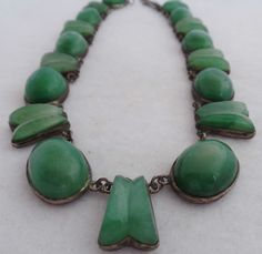 VINTAGE ANTIQUE BOLD NECKLACE green amethyst MEXICO STERLING SILVER MEXICAN