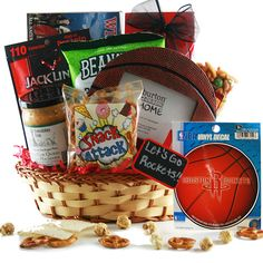 Free Throw Rockets Sports Gift Basket Game Day Snacks, Free Throw, Sports Gifts, Gift Bags, Gift Baskets, Rockets, Appreciation, Auction, Sympathy Gift Baskets