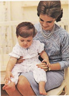 Queen Anne Marie of Greece with daughter Alexia. 1966