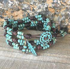 Beaded Wrap Bracelet/ Triple Wrap Seed Bead Bracelets For Women/ Seed Bead Leather Wrap Bracelet/ Boho Wrap Bracelet/ Bohemian Bracelet.