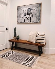 I moved this handsome fella from our fireplace mantel to this little area in our home. Well, technically Kyle moved it, but only because… Home Interior, Interior Decorating, Interior Design, Decorating Tips, Style At Home, Entryway Decor, Entryway Bench Modern, Entryway Furniture, Wood Furniture