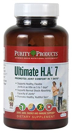 Purity Products - Ultimate H.® 7 cap Supports Healthy, Flexible Joints in as little as 5 to 7 days* Supports Normal Shock-Absorbing Capacity of Joints* Unique Blend of Biocell HA + AprèsFLEX Boswellia + Healthy Co-factors Flexible Joint, Nutritional Supplements, Health And Beauty, Vitamins, Health Fitness, Hyaluronic Acid, Factors, Healthy, Flexibility