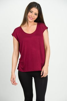 Play Back Tee - Maroon With White