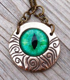 Green curly vines Evil Eye Pendant.