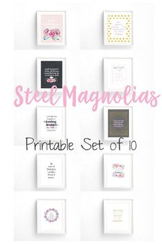 Party Set of 14 Printables Steel Magnolias Theme Perfect for Bridal Showers Magnolia Movie, Magnolia Wedding, Steel Magnolias Quotes, Southern Bridal Showers, Salon Quotes, Letter Size Paper, Work Party, Wall Prints, Scrapbook Pages