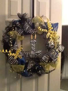 My first mesh wreath.  It's for our kid's high school, the Lincoln Zebras!